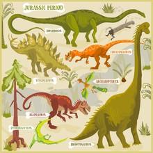 Dinosaurs Of Jurassic Period Vector Format Land Illustration Fantasy Map Builder Set
