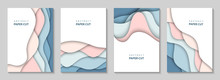 Vector Vertical Flyers With Colorful Paper Cut Waves Shapes. 3D Abstract Paper Style, Design Layout For Business Presentations, Flyers, Posters, Prints, Decoration, Cards, Brochure Cover, Banners.
