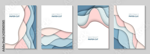 Obraz Vector vertical flyers with colorful paper cut waves shapes. 3D abstract paper style, design layout for business presentations, flyers, posters, prints, decoration, cards, brochure cover, banners. - fototapety do salonu