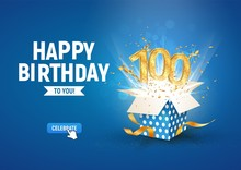 100 Th Years Anniversary Banner With Open Burst Gift Box. Template Hundredth Birthday Celebration And Abstract Text On Blue Background Vector Illustration
