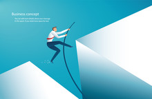 Businessman Jumping With Pole ...