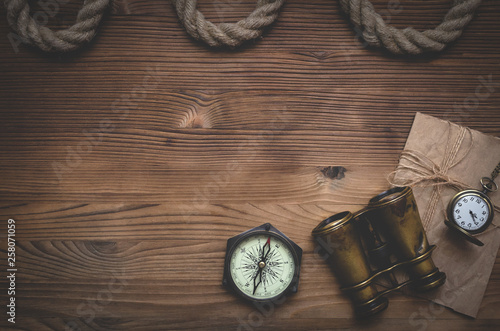 Fotografie, Obraz Travel or adventure flat lay background with a copy space