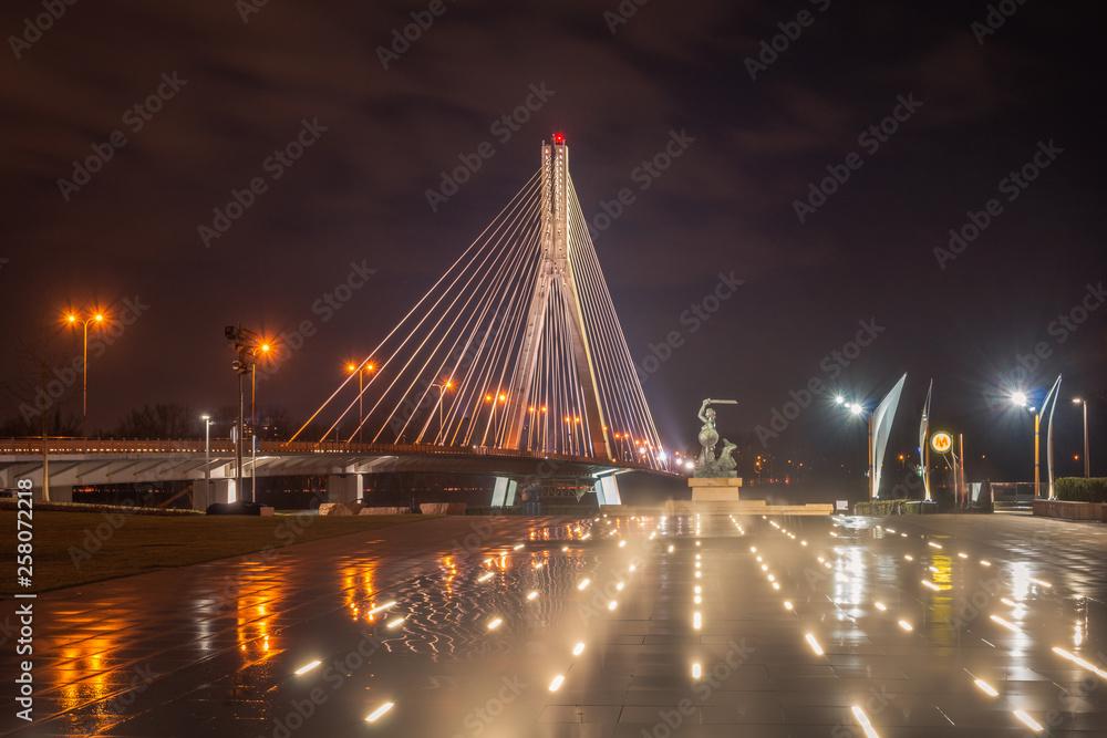 Swietokrzyski bridge over the Vistula river in Warsaw, Poland