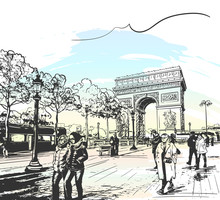 Sketch Of Arc De Triomphe In Paris, France, Seen From Avenue Des Champs-Elysees With Tourists And People Walk, Hand Drawn Illustration