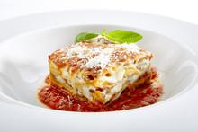 Lasagna With Tomato Sauce Isol...