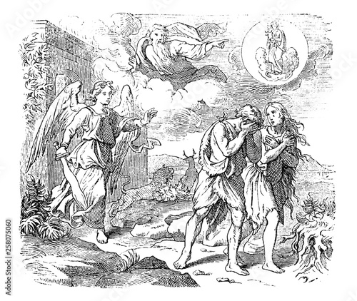 Vintage antique illustration and line drawing or engraving of biblical Adam and Eve leaving Garden of Eden Wallpaper Mural