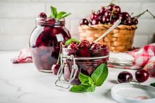 Homemade Cherry And Mint Jam