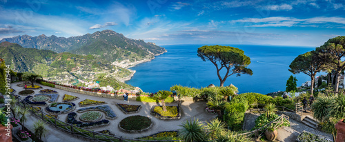 Photo sur Toile Naples Sightseeing Villa Rufolo and it's gardens in Ravello mountaintop setting on Italy's most beautiful coastline, Ravello, Italy