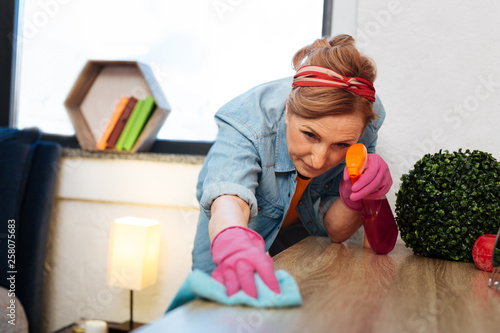 Fotografie, Obraz  Precious light-haired woman in jeans shirt spraying cleaning product
