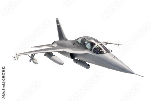 Fighter jet plane with weapon isolated on white background.