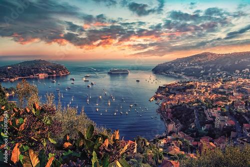 Fotografie, Obraz  Villefranche Sur Mer coastline on the French Riviera