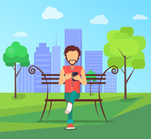 Man Sitting On Bench In City Park On Background Of Skyskrapers And Listens Music On Smartphone In Free Wi-fi Zone Vector Illustration In Flat Design.