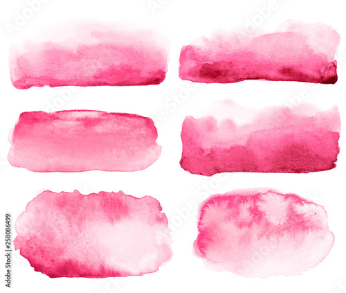 Fototapety, obrazy: Collection of abstract watercolor hand drawn pink brush strokes.
