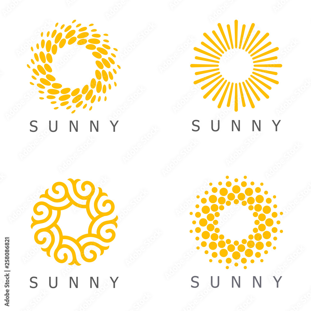 Fototapety, obrazy: Set of vector logo design template. Sun abstract icons.