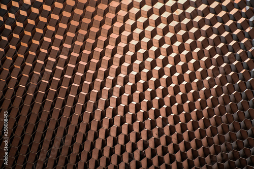 Türaufkleber Darknightsky copper colored red orange hexagon technology