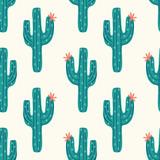 bezszwowe kaktus wzór z wektor zielony kaktus na tle krem - 258090400