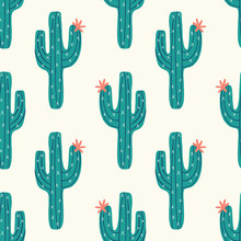 Seamless Cactus Pattern With V...