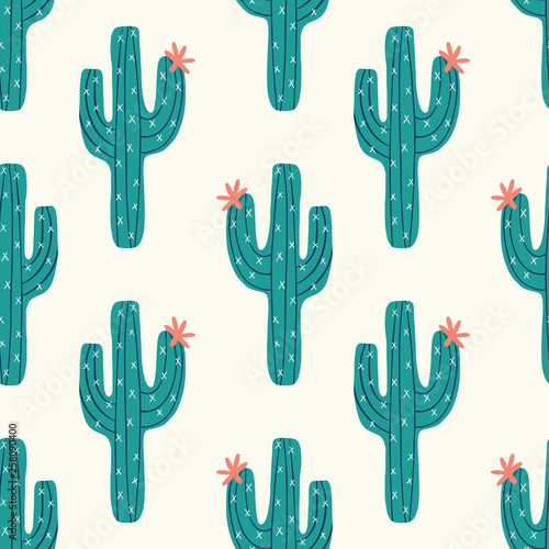 Slika na platnu seamless cactus pattern with vector green cactus on a cream background