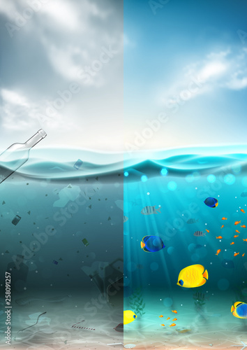 Fototapeta Clean and polluted sea water concept. Different garbage floating in waste water and beautiful underwater world with color fish and seaweed. Global aqua pollution. Vector illustration. obraz
