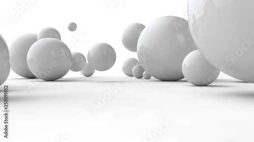 3D illustration of balls of different sizes on a white surface. The idea of order, chaos and abstraction. Comparative image of the geometry of space. 3D rendering isolated on white background.