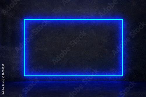 Fotografie, Tablou rectangle blue neon on a dark wall