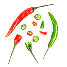 Red And Green Hot Chilli Peppe...