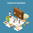 Isometric Business Strategy Composition
