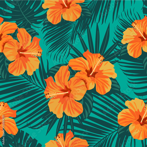 Tropical flowers and palm leaves on background. Seamless. Vector pattern. - 258104211