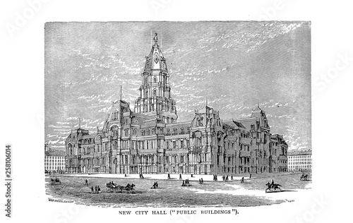 Philadelphia City. Engraving illustration