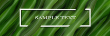 Volumetric, Vector, Green Background Of Realistic 3D Leaves And A Frame With Text. Green Banner, Web Screenshot In The Style Of Realism To Design. Vector Graphics.