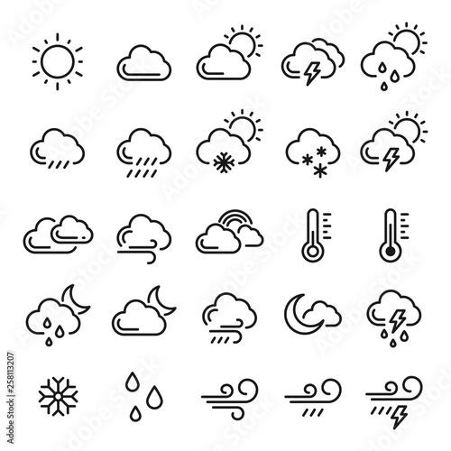 Fototapeta Weather icon set, meteorology and climate symbol obraz