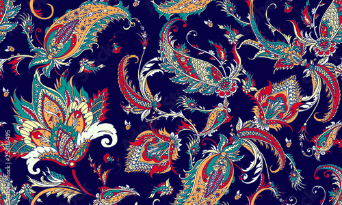 Fototapeta Seamless pattern with beautiful paisley