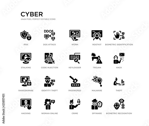 Obraz na plátně set of 20 black filled vector icons such as biometric recognition, theft, hack, biometric identification, spyware, crime, stalking, rootkit, worm, dos attack