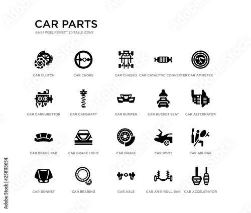 set of 20 black filled vector icons such as car accelerator, car air bag, car alternator, ammeter, anti-roll bar, axle, carburettor, catalytic converter, chassis, choke. parts black icons