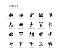 Set Of 20 Black Filled Vector Icons Such As Horseball, Hurling, Judo, Kendo, Kickball, Kickboxing, Rinkball, Sailboat Sport, Shuttlecock, Snooker. Sport Black Icons Collection. Editable Pixel
