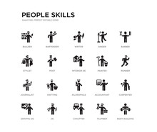 Set Of 20 Black Filled Vector Icons Such As Body Building, Carpenter, Runner, Barber, Plumber, Chauffer, Stylist, Singer, Writer, Bartender. People Skills Black Icons Collection. Editable Pixel