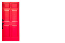 Isolated Red Wooden Door On White Background