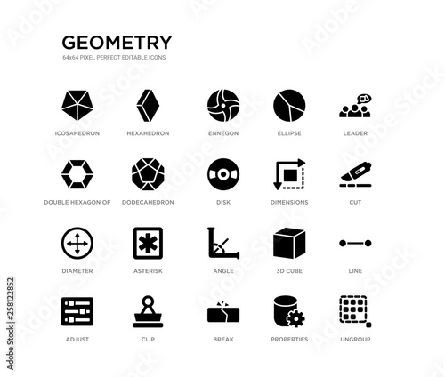 Photo set of 20 black filled vector icons such as ungroup, line, cut, leader, properties, break, double hexagon of small triangles, ellipse, ennegon, hexahedron