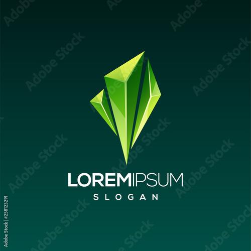 emerald gem logo design Canvas Print