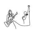 pictures of continuous lines drawing of guitarist and rock musicians.