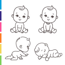 Cute Little Boy Icon Set. Coloring Page Of Outline  Stickers Of Little Baby Boy In Pajamas, Diaper. Child Sleeping, Sitting, Crawling. Emblem Of Kid Health. Vector Monochrome Illustration.