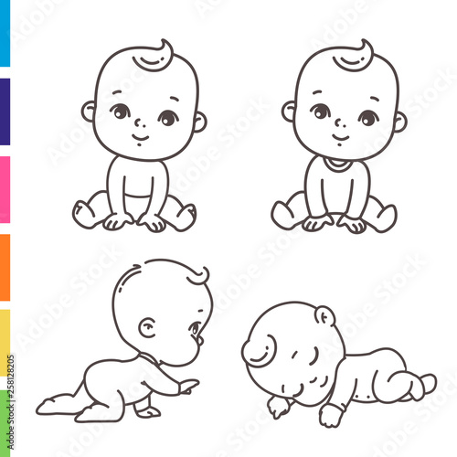 Cute Little Boy Icon Set Coloring Page Of Outline Stickers Of Little Baby Boy In Pajamas Diaper Child Sleeping Sitting Crawling Emblem Of Kid Health Vector Monochrome Illustration Stock Vector Adobe