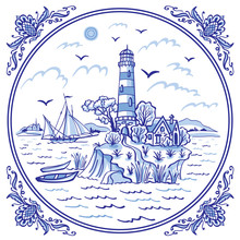 Landscape With A Lighthouse. Ship And Boats, Cobalt Painting In The Traditional Dutch Style, Delft, Gzhel, Tiles, Design For Porcelain Tableware.