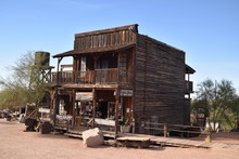 Apache Junction, AZ., 85119. U.S.A. Jan. 15, 2018. Goldfield Ghost Town. Gold Mining From 1892; Stopped Circa 1921. Tourist Arrived 1988.  Weathered Wooden Buildings, Quaint Shops And Saloon.