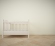 Baby room with white crib and ceramic tile flooring. Rendering made using free software Blender