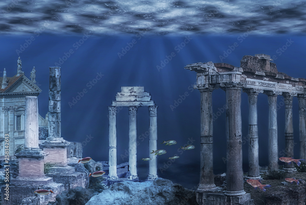 Fototapety, obrazy: Illustration of the ruins of the Atlantis civilization. Underwater ruins