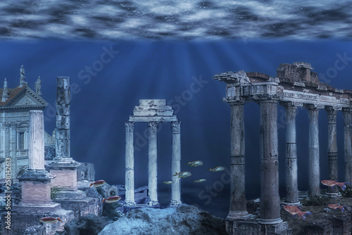 Illustration of the ruins of the Atlantis civilization Canvas Print
