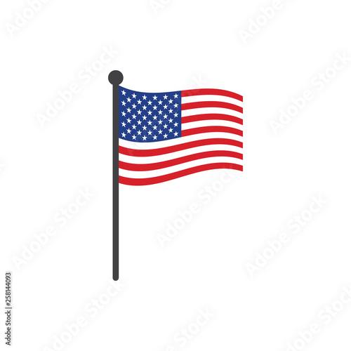 Obraz na plátně USA flag with pole icon vector isolated on white background