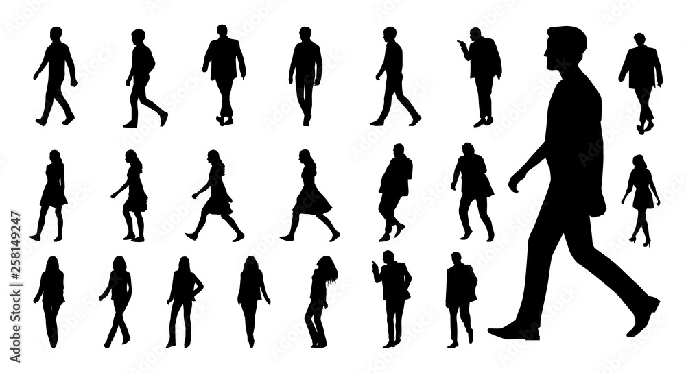 Fototapety, obrazy: Vector collection of walking people silhouettes. Vector set