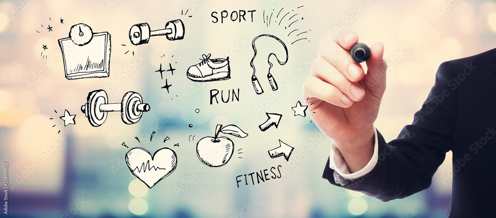 Fitness and diet with businessman on blurred abstract background